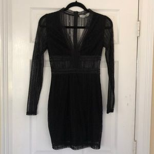 Black lace long-sleeved mini dress